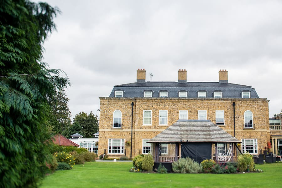 wedding photography at orsett hall, exterior photo from a different angle